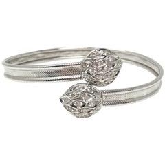 White Round Brilliant Diamond Flexible Bangle in 18 Karat White Gold