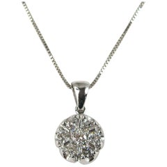 14 Karat White Gold Diamond Snowflake Pendant Necklace