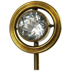 14 Karat Gold Aquamarine Antique Stick Pin