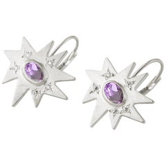 Emily Kuvin Silver, Diamond and Amethyst Star Drop Lever Back Earrings