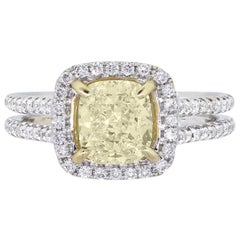 1.65 Carat Fancy Yellow Cushion Cut Diamond Engagement Ring