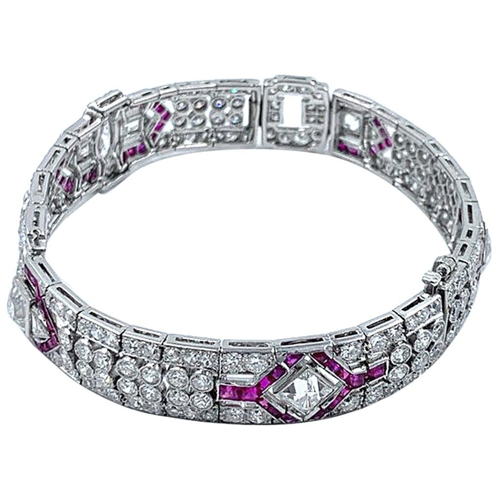 Absolute Fabulous Platinum Fine Art Deco Style Bracelet