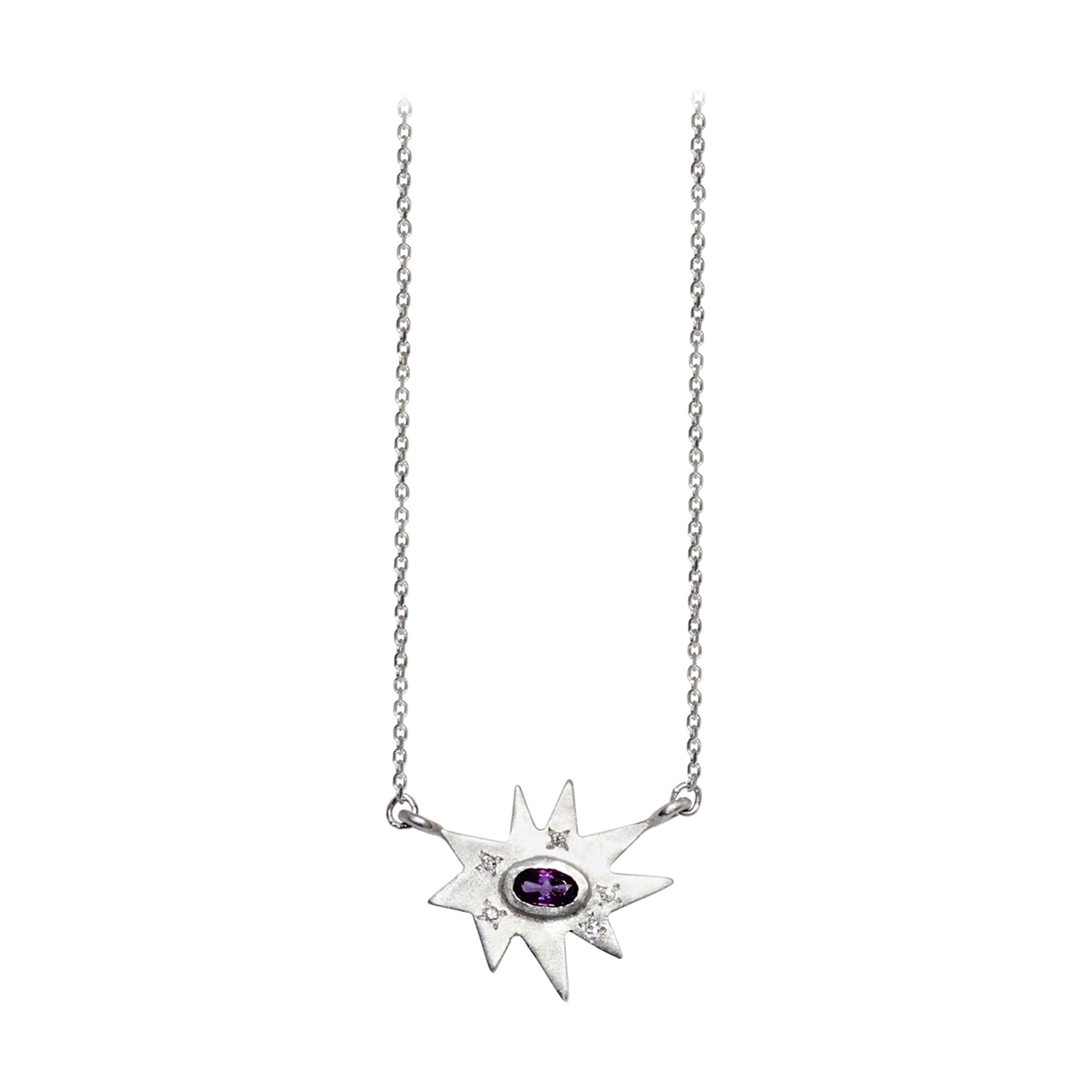 Silver, Amethyst and Diamond Necklace and Earring Set