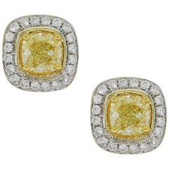 Fancy Yellow Cushion Cut Diamond Earrings