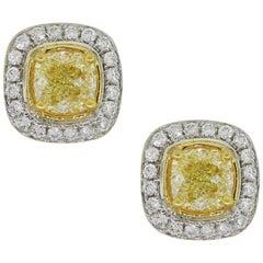 Fancy Yellow Cushion Cut Diamond Earrings