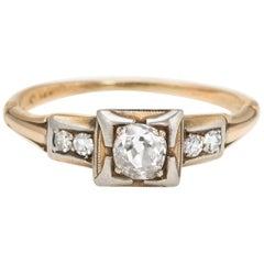 Antique Deco Diamond Ring 14 Karat Yellow Gold Jewelry Old Mine Cut