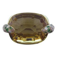 Pomellato 18K Yellow Gold Pin Up Diamond Tsavorite Lemon Citrine Ring SZ 6.5
