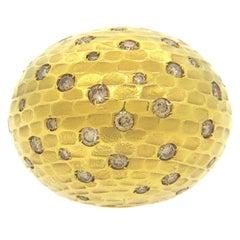 Pomellato 18 Karat Yellow Gold Duna Matte Brown Diamond Dome Ring
