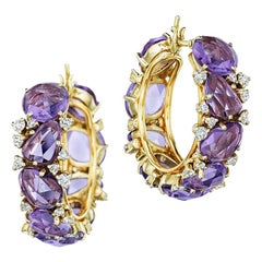 Pomellato Diamond Amethyst Lulu 18 Karat Hoop Stunning Earrings