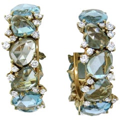 Pomellato Diamond Topaz Lulu 18 Karat Hoop Stunning Earrings