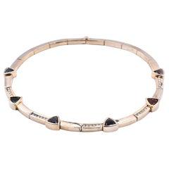 14 Karat Yellow Gold Diamond and Matched Trillion Semi-Precious Stone Necklace