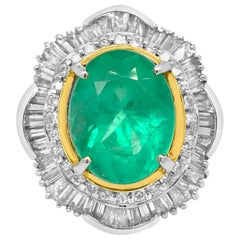 Platinum 5.5 Carat Emerald and Diamond Ring