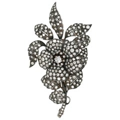 Victorian Floral Motif Diamond Brooch