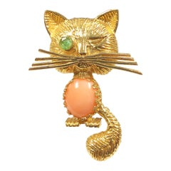 Vintage Yellow Gold and Gem Set Winking Kitty Brooch
