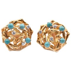 18 Karat Yellow Gold Vintage 1960s Diamond and Turquoise Earrings