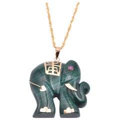 14 Karat Yellow Gold Carved Jade Elephant