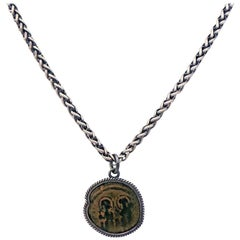 Ancient Byzantine Bronze Coin and Sterling Silver Pendant Necklace
