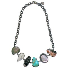 Fossil and Gemstone Oxidized Sterling Silver Collar Necklace