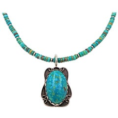 Vintage Turquoise Pendant on Beaded Turquoise and Navajo Pearl Necklace