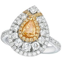 GIA Certified 0.52 Carat Fancy Intense Yellow- Orange Diamond Ring