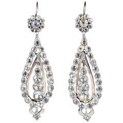 Antique Georgian Portuguese Crystal Drop Earrings Silver 18ct Gold Circa 1820