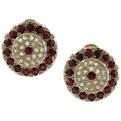 Diamonds, Rubies, 9 Karat Rose Gold and Silver Stud Earrings