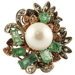 South Sea Pearl, Diamonds, Emeralds, 9 Karat Rose Gold and Silver Ring