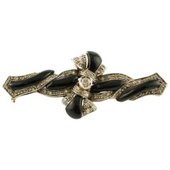 Diamonds, Onyx, 9 Karat Rose Gold and Silver Cross Brooch