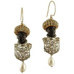 Ebony, Diamonds, Aquamarine, Pearls, 9 Karat Rose Gold & Silver Moretto Earrings