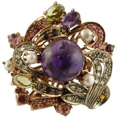 Amethysts,Diamonds,Rubies,Sapphires,Peridot,Garnets,Pearls,Rose Gold&Silver Ring