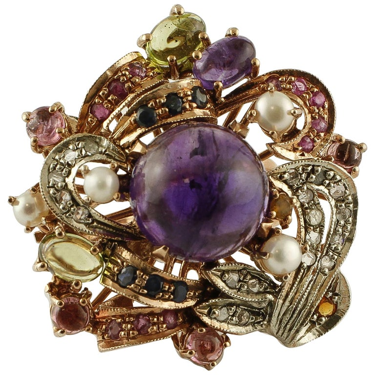 Amethysts,Diamonds,Rubies,Sapphires,Peridot,Garnets,Pearls,Rose Gold&Silver Ring For Sale