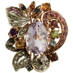 Amethyst Diamond Ruby Sapphire Garnet, Peridot, Topaz, Rose Gold and Silver Ring
