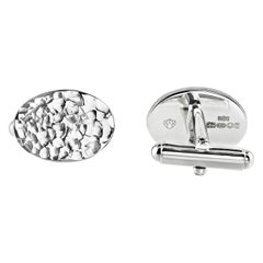 Hammered Textured Oval Sterling Silver Cufflinks with Swivel Back Fittings