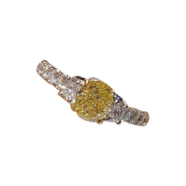 GIA Certified 1.03 Carat Fancy Yellow VS1 3-Stone Diamond Ring