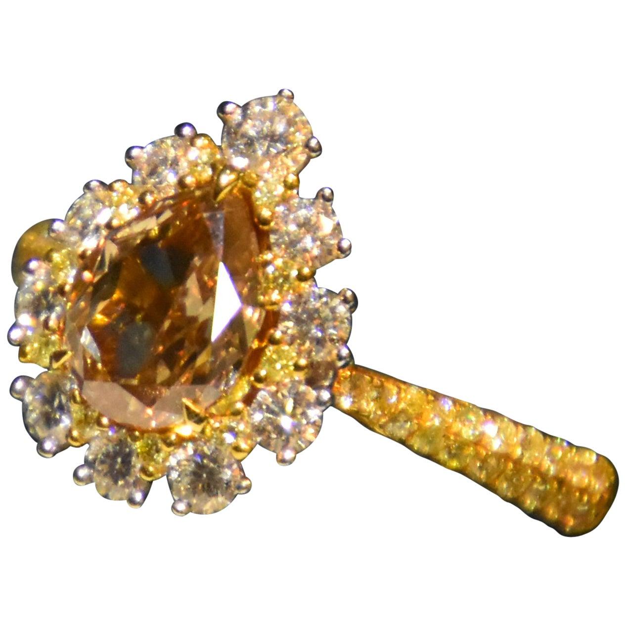 GIA Certified 1.52 Carat Fancy Brown-Yellow Diamond Ring