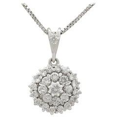 1970s 1.38 Carat Diamond White Gold Cluster Pendant
