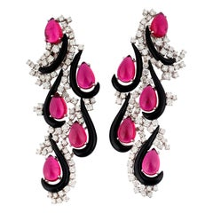 Margherita Burgener Diamond Rubellite Onyx Gold Earrings
