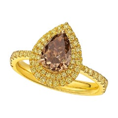 GIA Certified 1.66 Carat Fancy Dark Yellowish Brown Diamond Ring