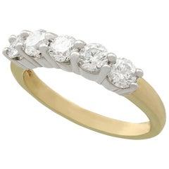 1990s 1.06 carat Diamond Yellow Gold Five Stone / Half Eternity Ring