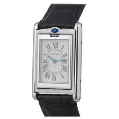 Cartier Stainless Steel Manual Wind Reversible Rectangular Wristwatch