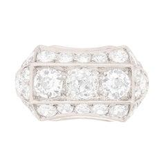 Art Deco Three-Stone Diamond Cluster Ring, circa 1920s