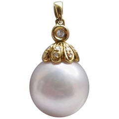 South Sea Cultured Pearl Diamond Pendant, Yellow Gold