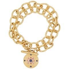 Julia-Didon Cayre 18 Karat Yellow Gold Diamond and Sapphire Charm Chain Bracelet