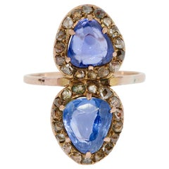 Antique Victorian Sapphire Ring with Rose Cut Diamonds, 14 Karat Gold