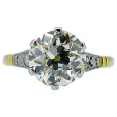 2.43 Carat Old European Cut Diamond Solitaire Ring, Diamond Shoulders