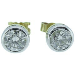 1.07 Carat Diamond Stud Earrings, 18 Carat Gold, London, 2000