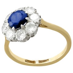 1940s 1.05 Carat Sapphire and 1.45 Carat Diamond Yellow Gold Cocktail Ring