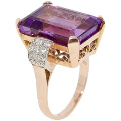 Beautiful, Antique Amethyst Ring, Rose Gold with Diamonds