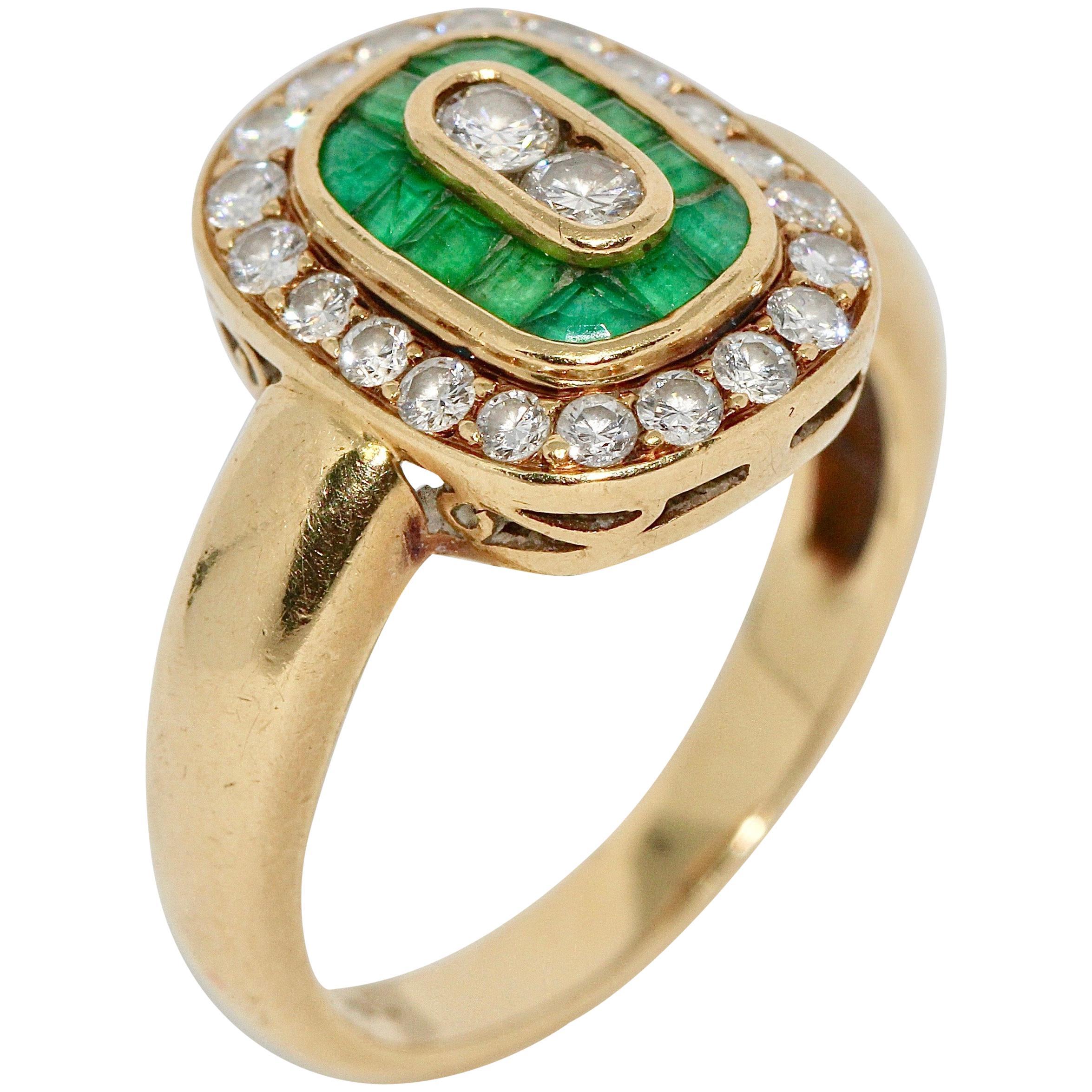 Ladies Diamond Ring, 18 Karat Gold with Emeralds
