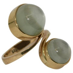 Ladies Ring 14 Karat Gold with Moonstones